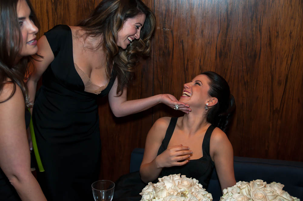 Fine art documentary wedding commission photography in NYC, girls in laughing party, Steve Giovinco
